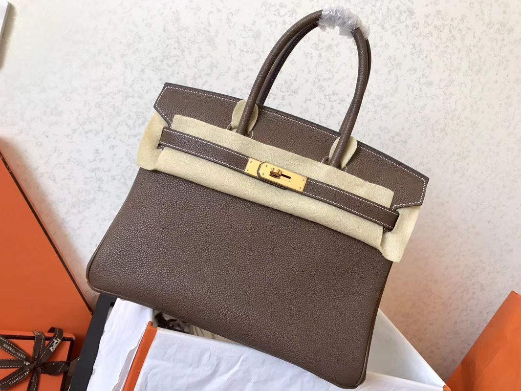 54598a724b75 Hermes Birkin 25 Etoupe Bag - Togo Leather 1