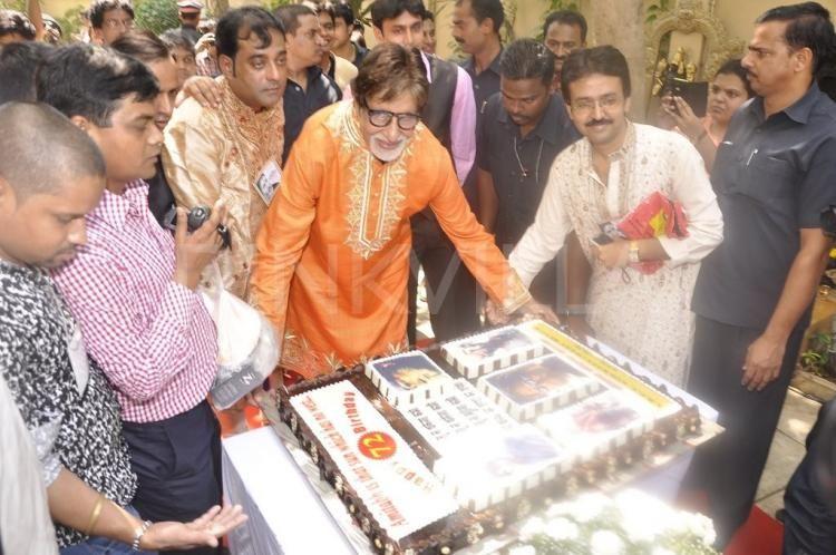 Big B Cuts Birthday Cake With Media