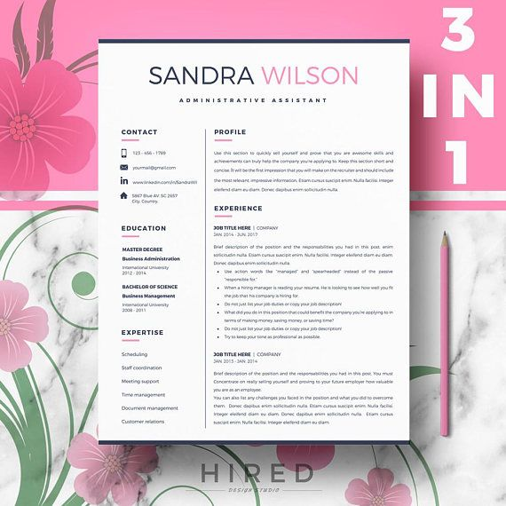 Creative Resume Resume for Word 1, 2 and 3 Page Resume + Cover - 3 page resume