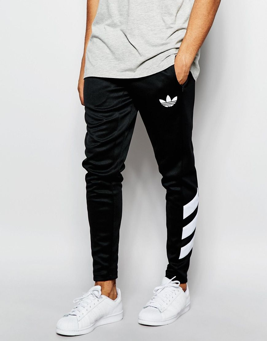 Adidas Originals black and white stripes skinny track pants  b09a19a664