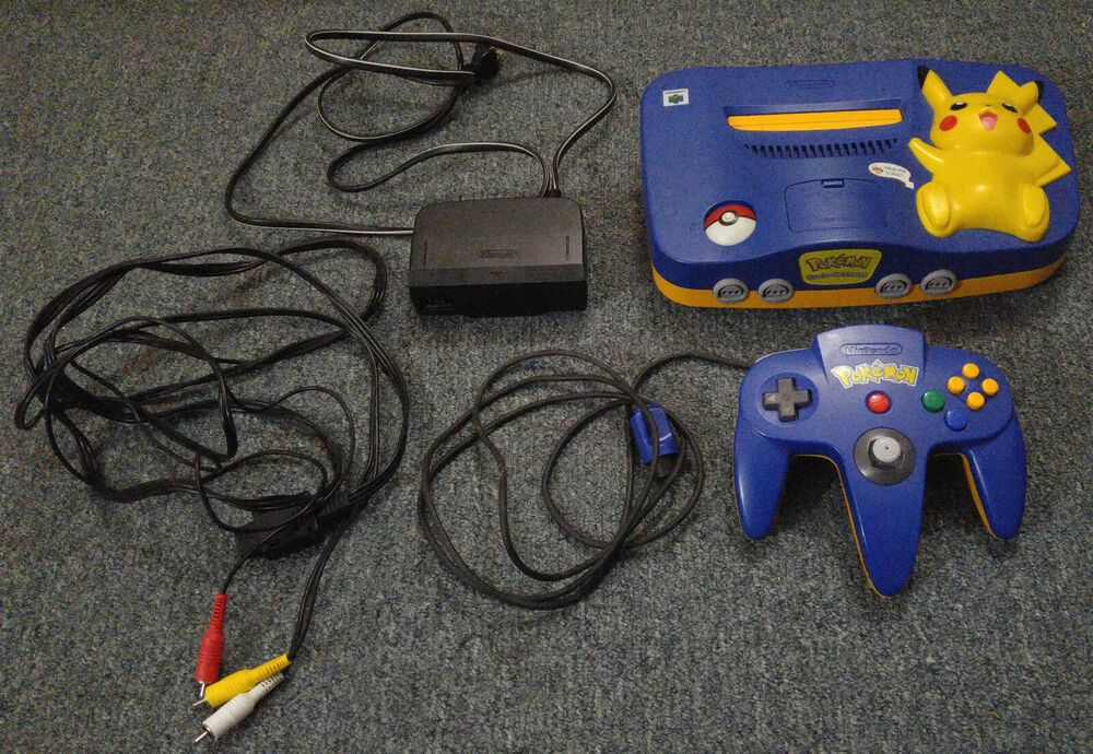 Pokemon Pikachu Nintendo 64 (N64) with Controller & Cables