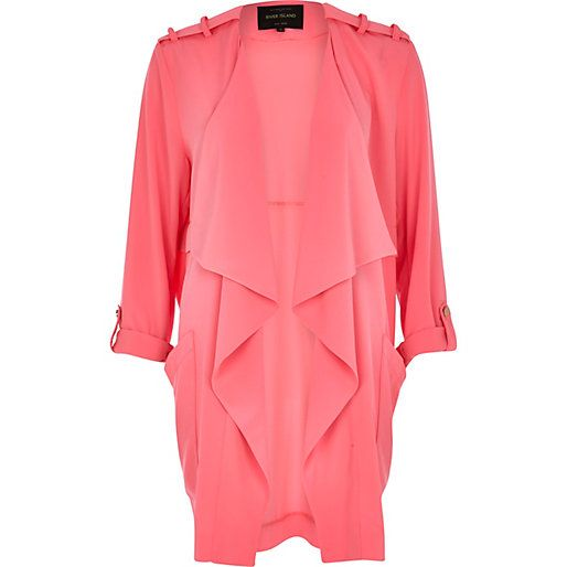 Pink chiffon waterfall jacket - coats / jackets - sale - women ...