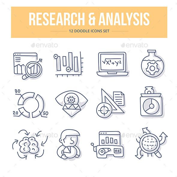 Research  Analysis Doodle Icons  Icons Font Logo And Icon Set