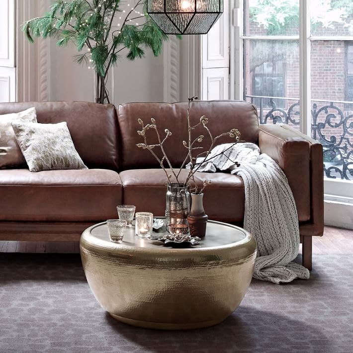metal side tables for living room. Williams Sonoma  Inc To the Trade s West Elm Hammered Metal Coffee Table was hand hammered in India Hand our drum shaped coffee table has a smooth