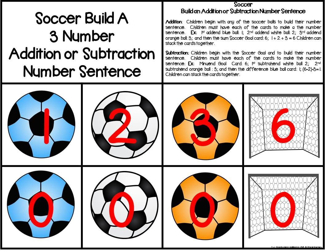 Soccer Build 3 Addend Addition Amp Subtraction Number