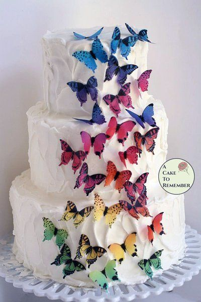 28 rainbow edible wafer butterflies for cupcake toppers Rainbows
