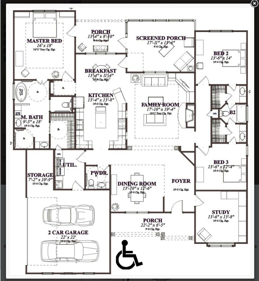 Floor Plans For A Single Level Family Home 4 Bedrooms House Plans Accessible House Plans Accessible House