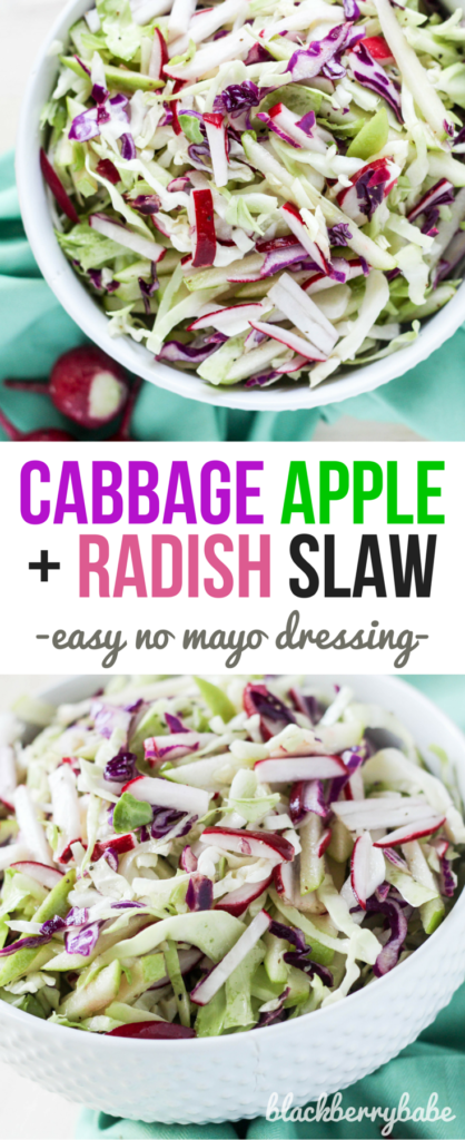 Cabbage Radish and Apple Slaw Recipe: Perfect for hot summer barbecues! Sweet vinegar dressing with NO MAYO! Recipe by @michelle_goth at Blackberry Babe. www.blackberrybabe.com #applerecipes