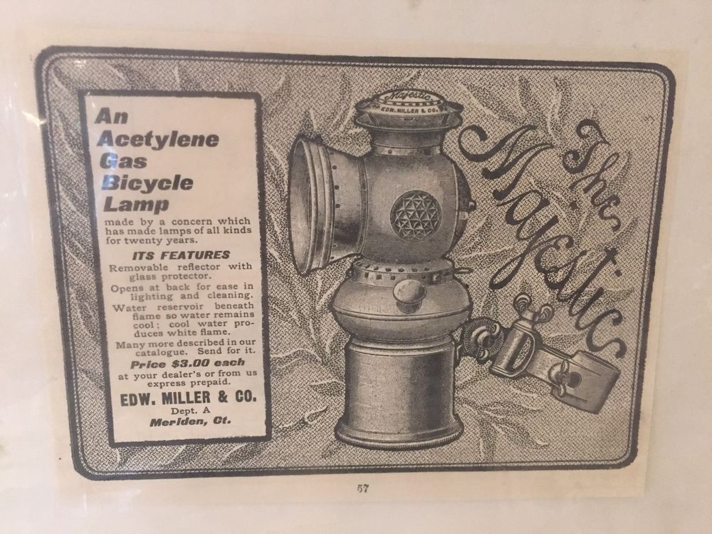 Antique Vintage The Majestic Bicycle Lamp Ad Acetylene Gas Edward Miller Co Bicycle Vintage Antiques