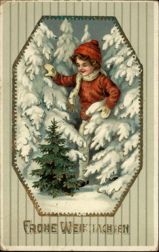 Old Christmas Post Card – 'Boy Searching for Tree', c1910 (520×824)