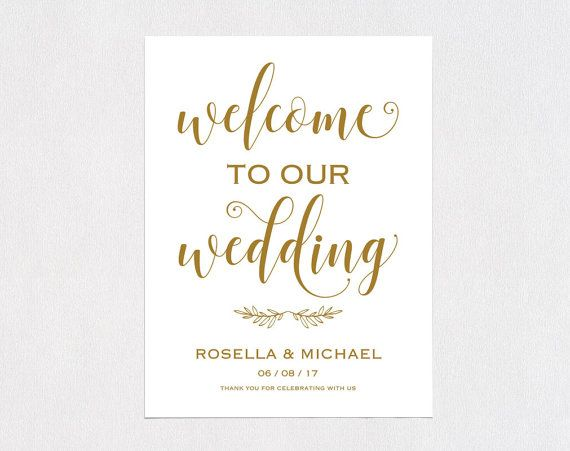 Gold Wedding Welcome Sign Template, Welcome to Our Wedding