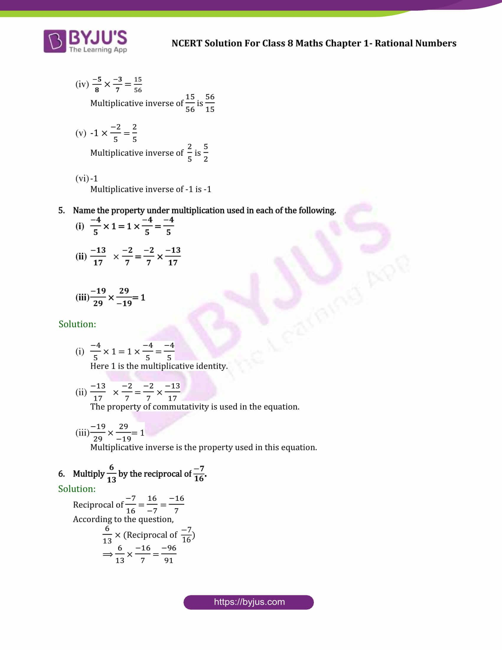 NCERT Solutions for CBSE class 8 Chapter 1 Rational Number part 4   Maths  ncert solutions [ 2200 x 1700 Pixel ]