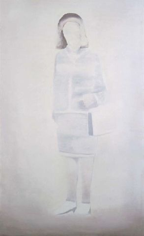 Luc Tuymans (B. 1958) Mrs. oil on linen 85½ x 52½ in. (217.2 x 133.3 cm.) Painted in 1999.