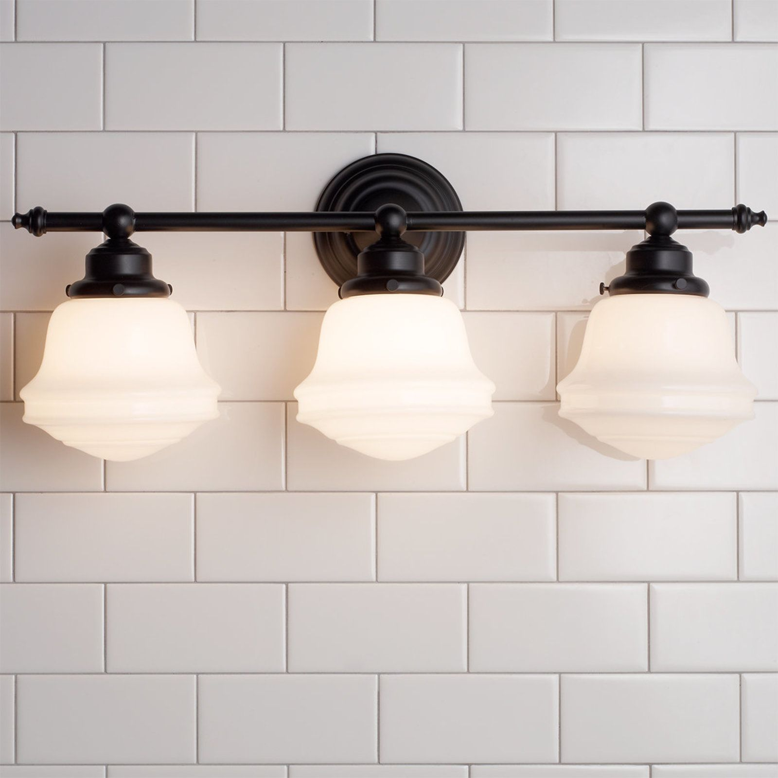 Photo of Milk Glass Bath Light – 3 Light