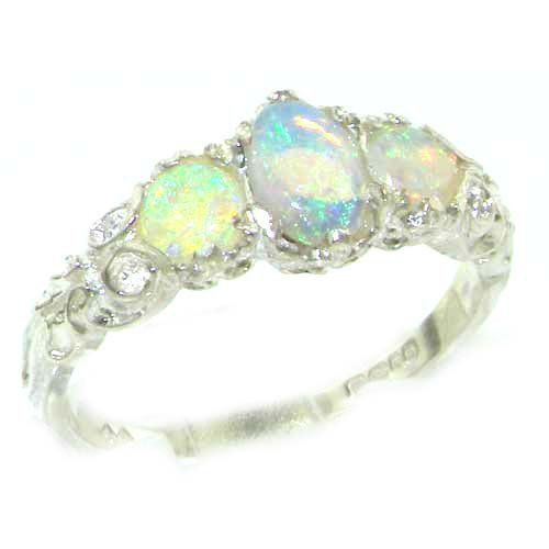ladies solid sterling silver natural fiery opal english victorian trilogy ring finger sizes 5 to - Opal Wedding Ring