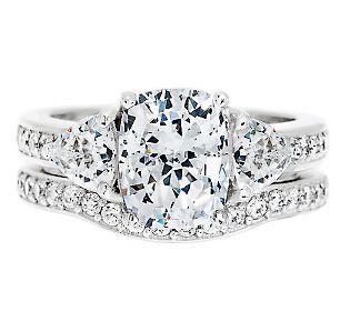 Epiphany Diamonique 2 95 Cttw 100 Facet 2 Pc Bridal Ring Set J262447 Qvc Com Qvc Jewelry Bridal Rings Bridal Ring Set