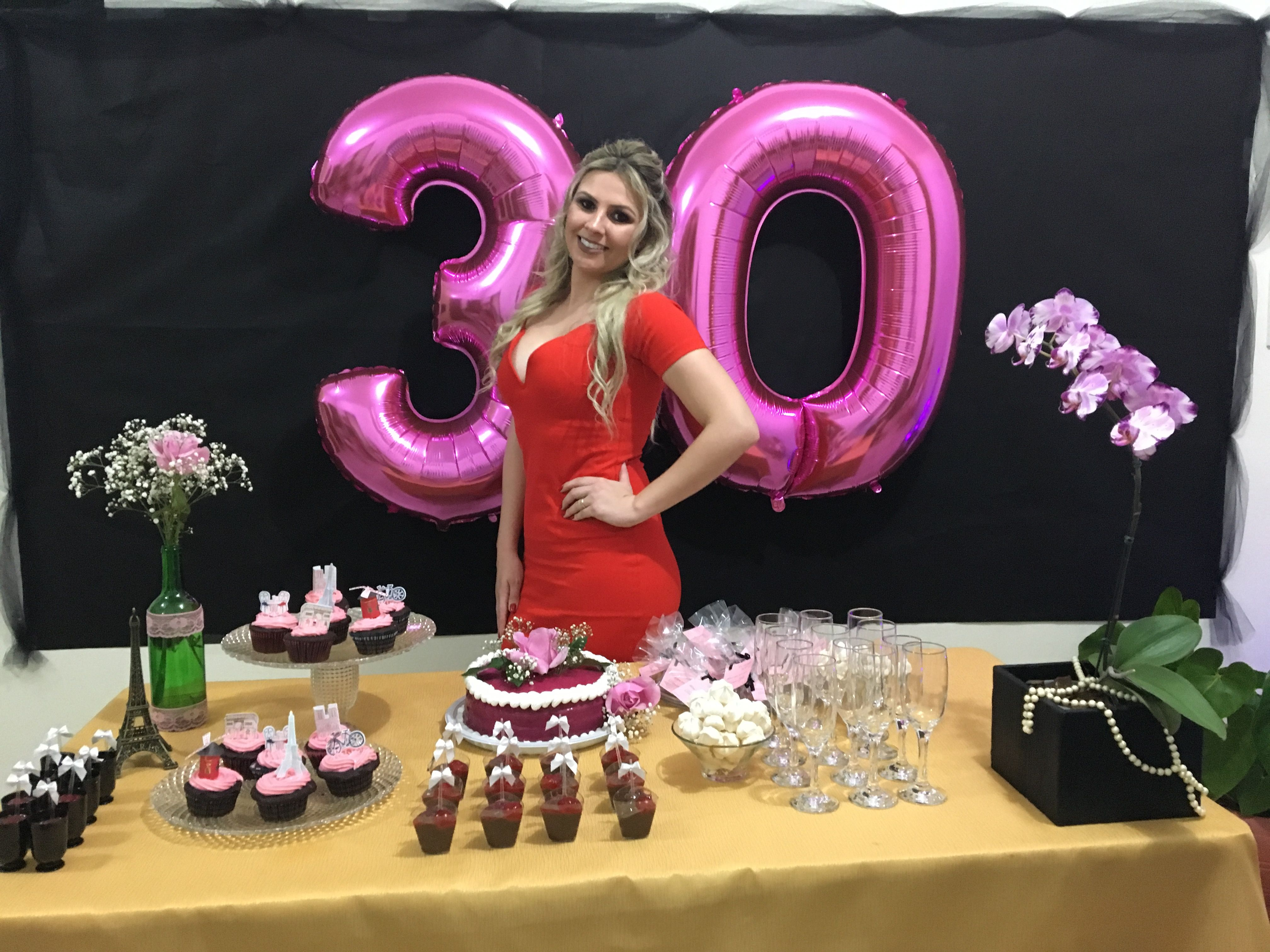 30th birthday decora o rosa e preto festa pariense - Decoracion cumpleanos adultos en casa ...