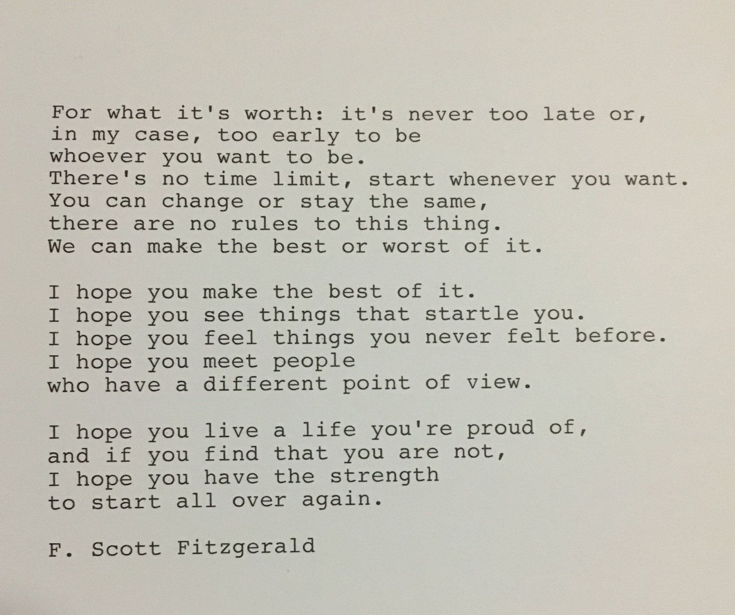 F Stock Quote Fscott Fitzgerald Quote Hand Typed Typewriter Quote  Hand Type