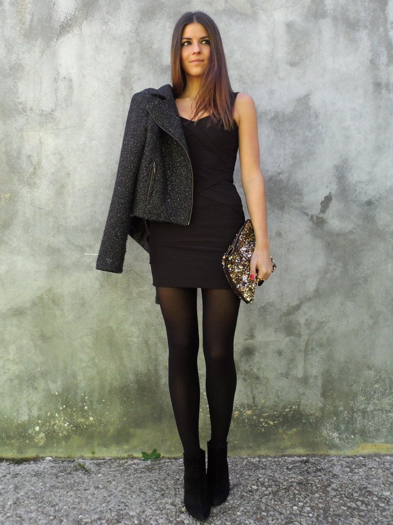 love black tights with a dress New years eve outfit