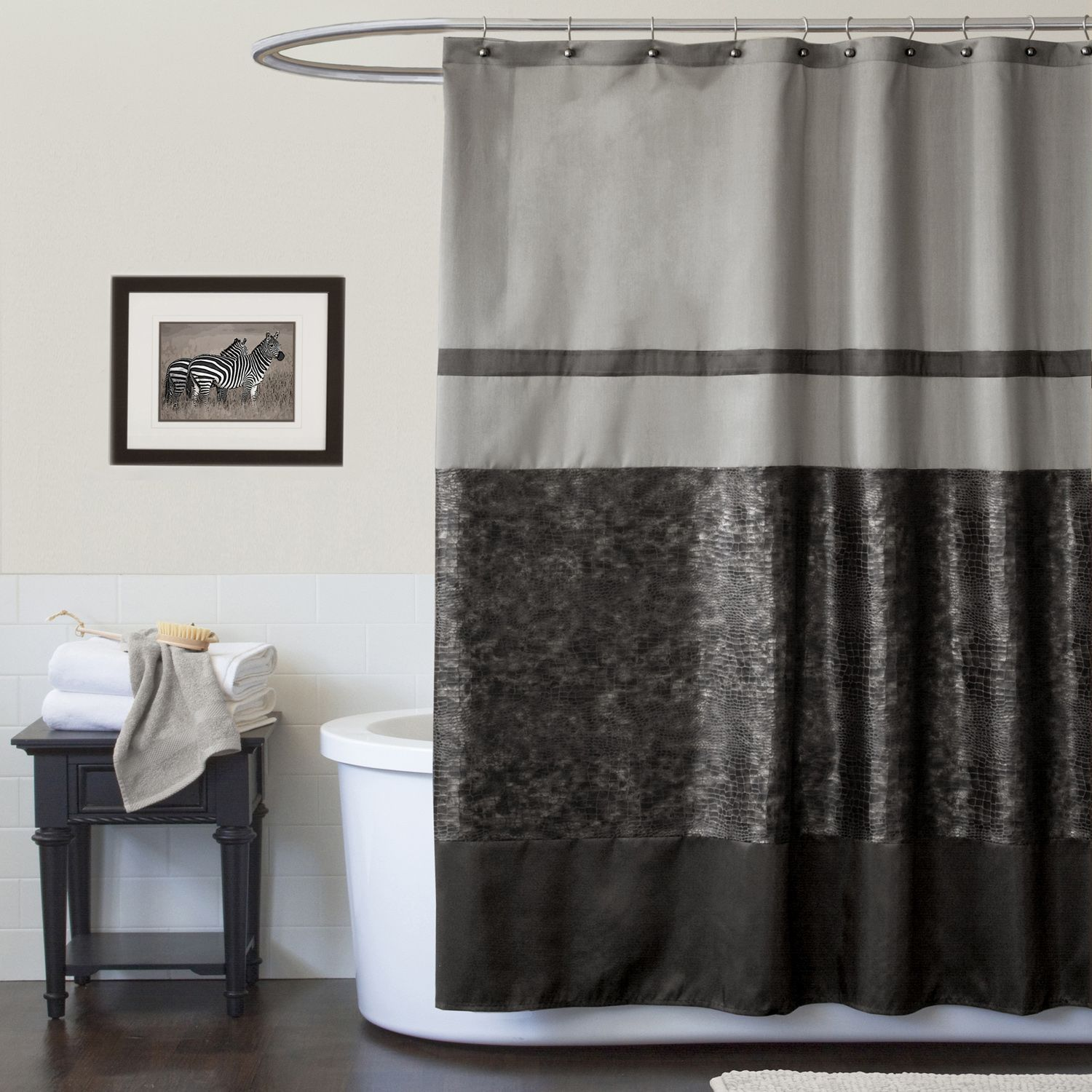 Lush Decor Croc Black Shower Curtain  Bed Bath Curtains Accessories