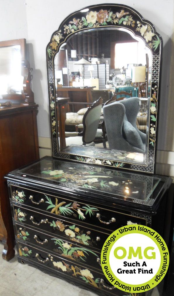 Beautifully Crafted Black Lacquer Dresser With Stunning Mother Of Pearl Inlay Atop The 4 Sets