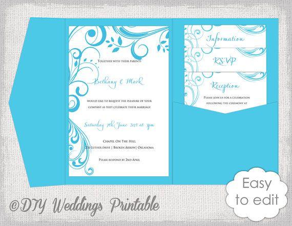 pocket wedding invitation template diy malibu blue pocketfold