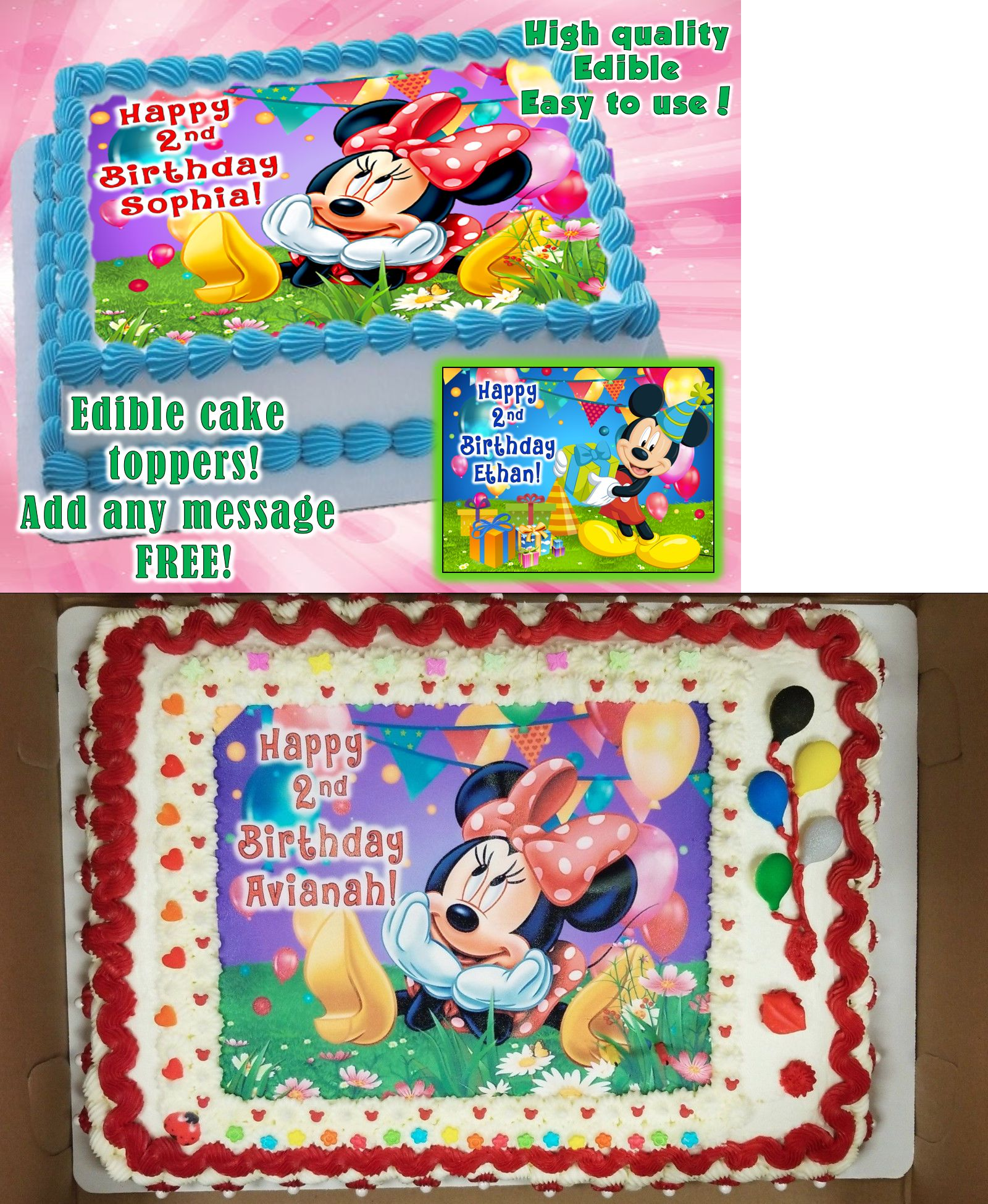Cake Toppers 183341 Minnie Mouse Mickey Mouse Edible Cake Topper