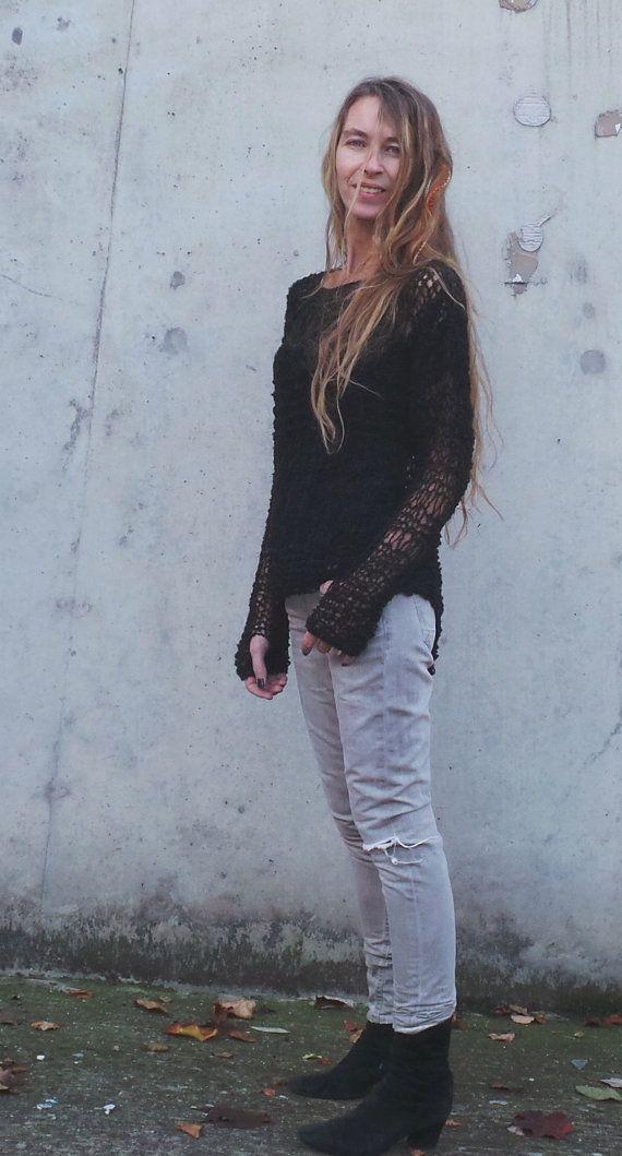 Black lightweight grunge loose knit alpaca mix by ileaiye