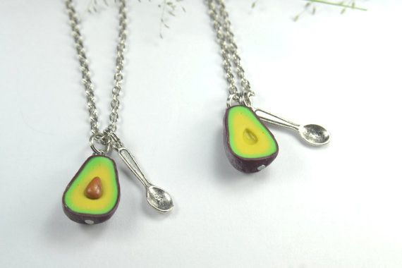 Handmade Polymer Clay Avocado Heart Pendant Necklace Best Friend Gift RDR