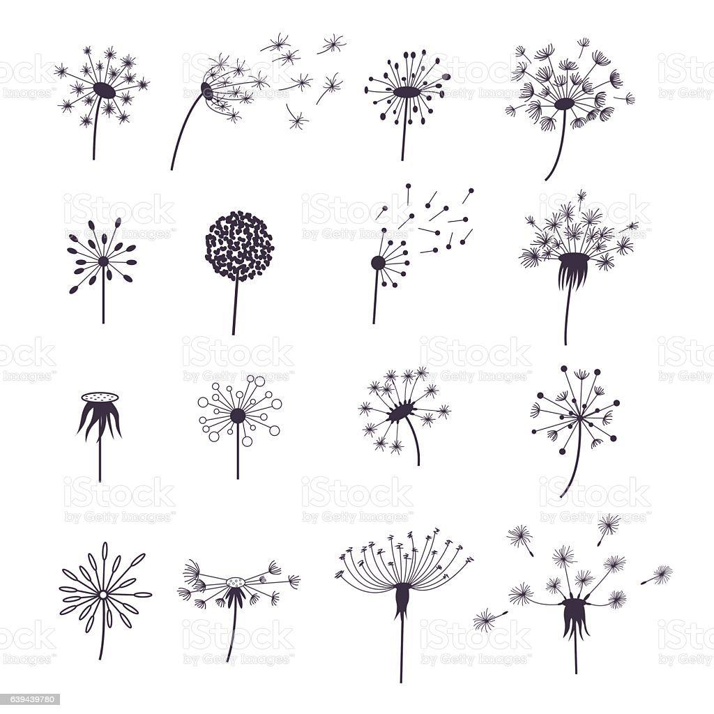 Dandelion Fluffy Flower And Seeds Silhouette Set Decoration Summer En 2020 Dibujo De Diente De Leon Flores Para Dibujar Patrones De Bordado