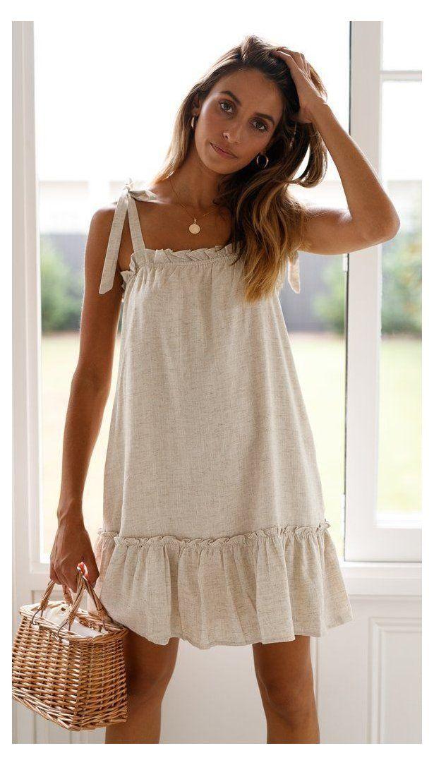 #linen #fashion #dress Caris Dress Material: Cotton, Linen A-line cut Shoulder tie detail Square neckline Ruffle detailing at the bust and hemline  #cutedresses #dresses #ootn #dress #fashion #ootd