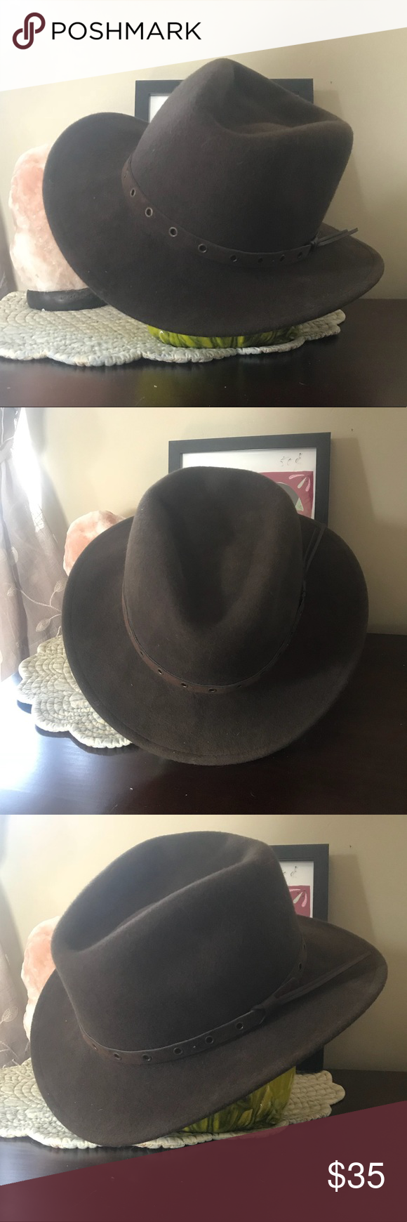 🦅🏍Harley-Davidson 100% Wool hat Excellent condition. Hard to come by. Chocolate brown color. Size states large, but I'm unsure if this is a woman's or a man's hat. It fits my head great but I've got a big noggin! Harley-Davidson Other