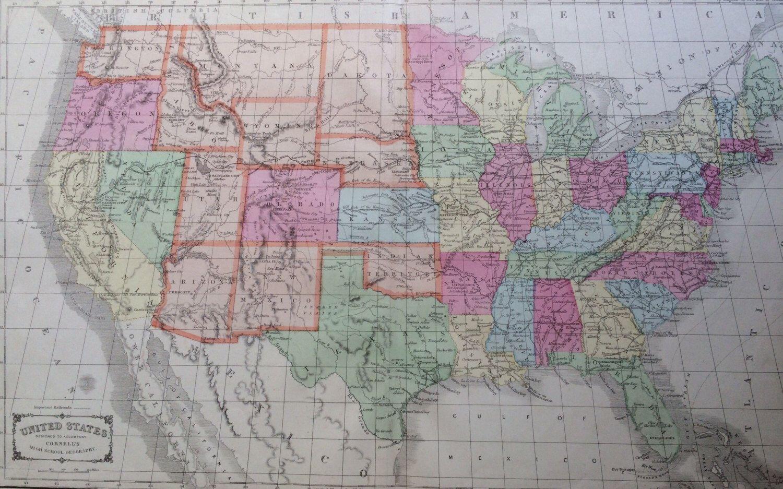United States Rare Original Antique Map 22 X 13 5