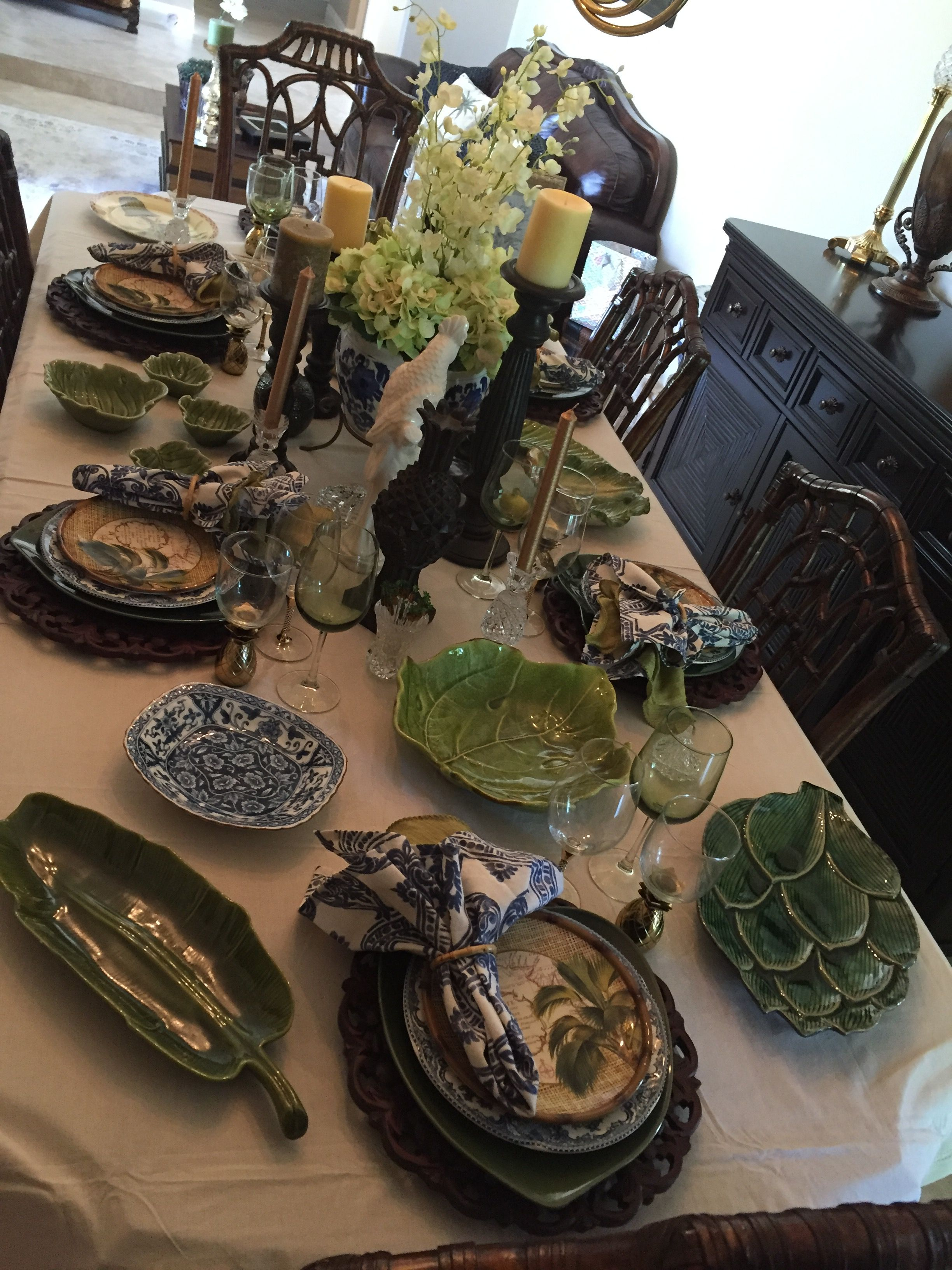 british colonial plates. blue and white. palm trees. banana leafs
