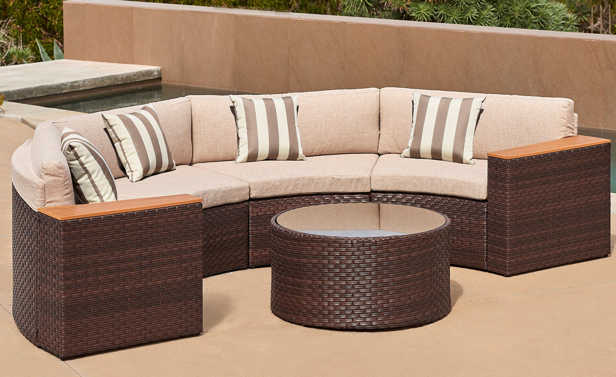 Solaura Outdoor 5piece Halfmoon Crescent Sectional Furniture Set All Weather Brown Wicker With Light Brown Waterproof Cush Sectional Furniture Sofa Wicker Sofa