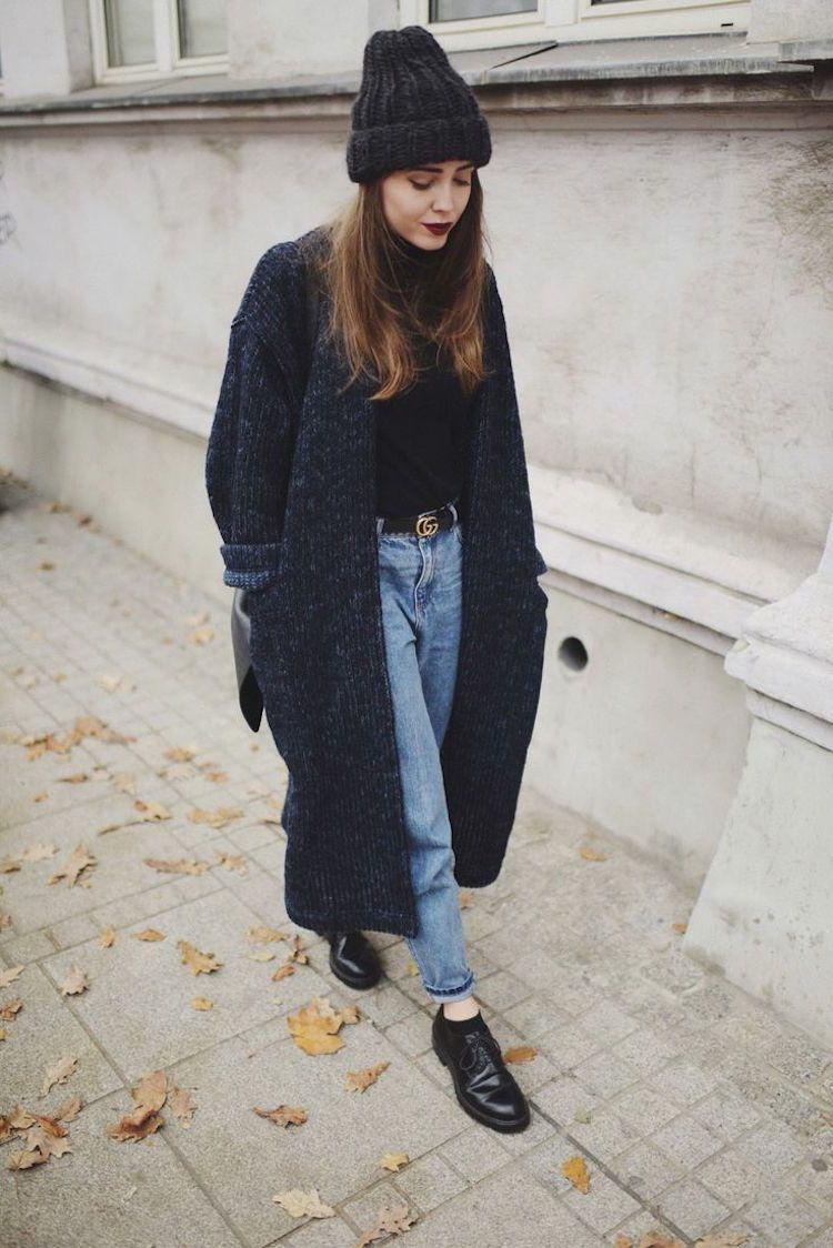 gilet boyfriend oversized femme jean long tricot bonnet 6w0q7rngfw
