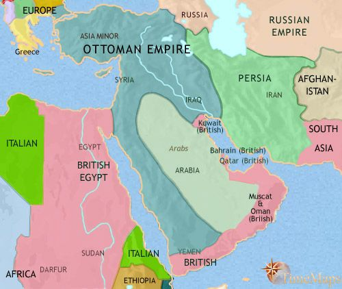 history map of Middle East 1914AD The Middle East Collection - best of world history map program