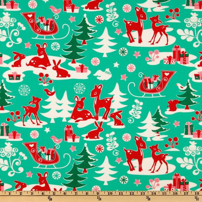 Michael Miller Holiday Yule Critters Aqua   Discount Designer Fabric    Fabric.com ~ Stocking