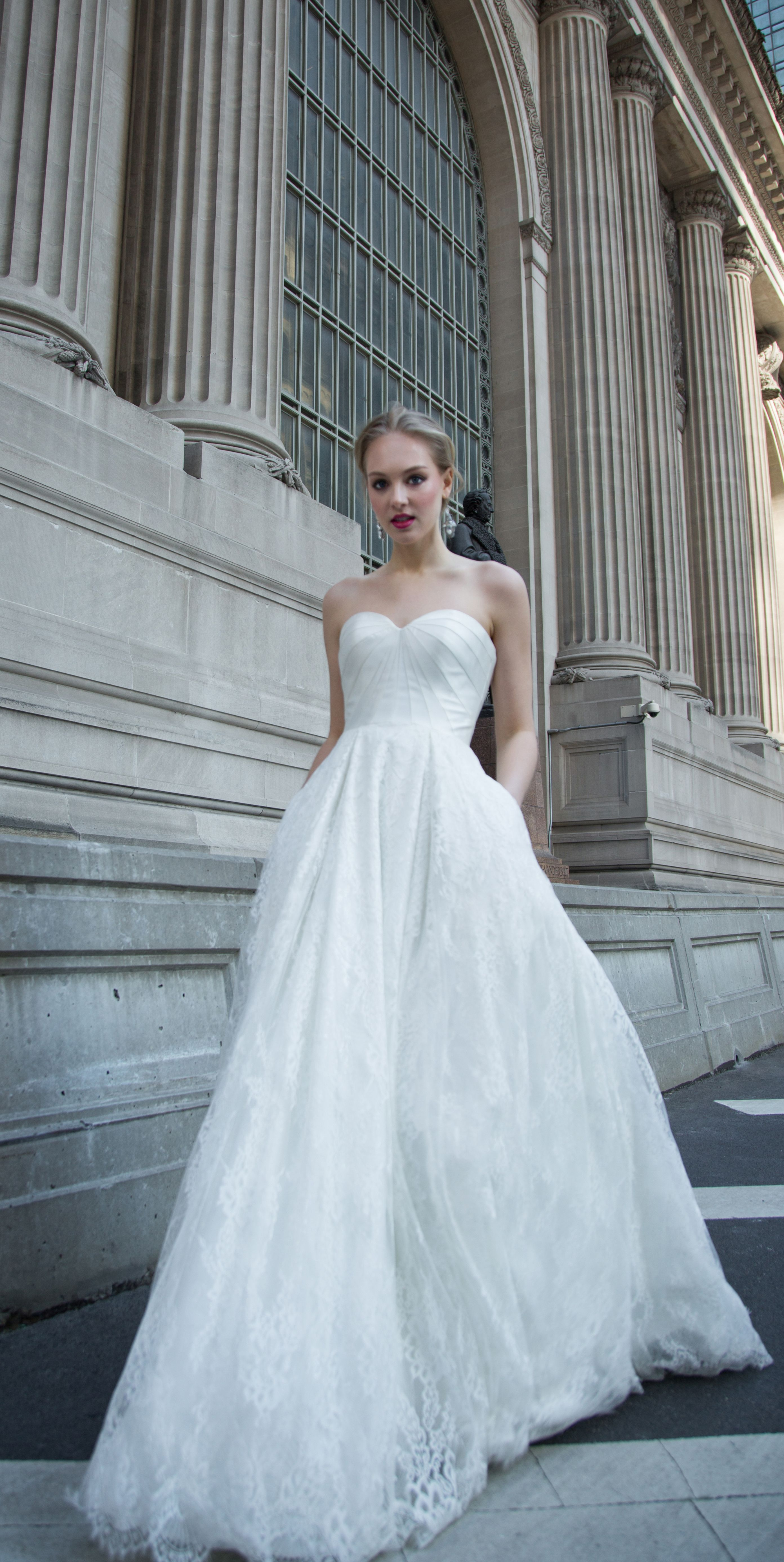 Mikado sweetheart ballgown with sculpted bodice seams and an allover ...