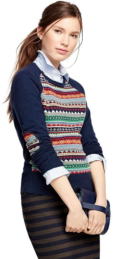 Brooks Brothers Cotton Blend Fair Isle Sweater - ShopStyle ...