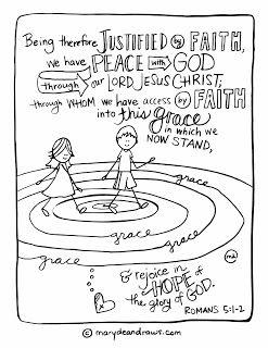 printable Bible Verse coloring page Romans 5:1-2