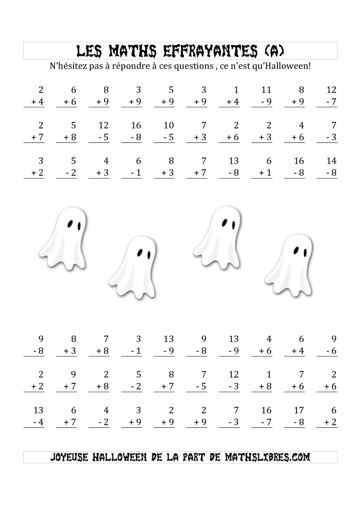 La fiche d 39 exercices de maths les maths effrayantes - Les tables de soustraction a imprimer ...