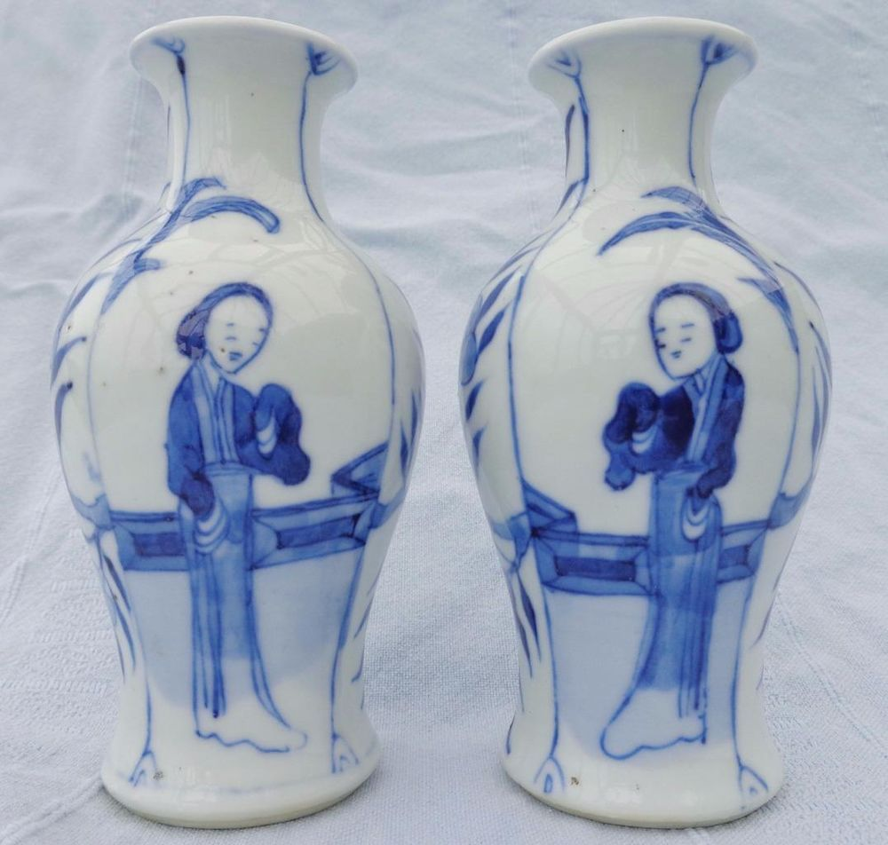 Pair antique chinese porcelain blue white baluster vases long pair antique chinese porcelain blue white baluster vases long eliza qing 19th floridaeventfo Choice Image