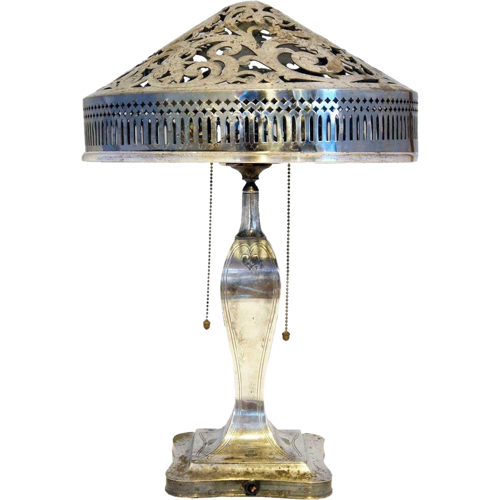 This american art nouveau table lamp is no longer available - American Pairpoint Art Nouveau Silverplate Table Lamp