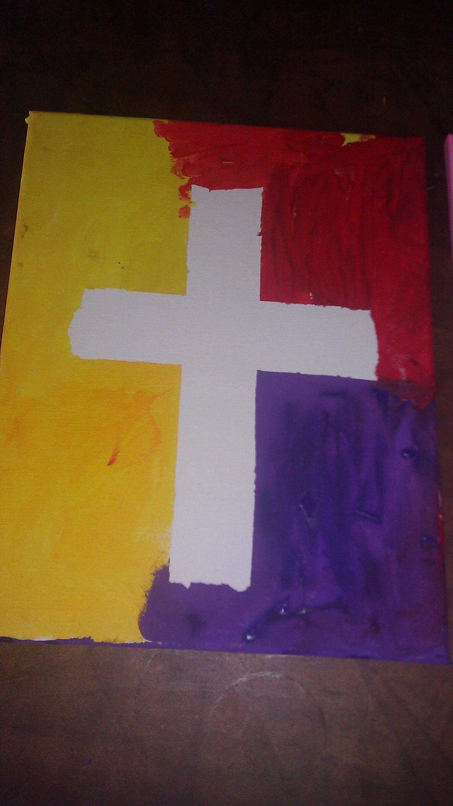 Made This Cross On Canvas With Masking Tape And Paint Remove The Tape And Here S The Masterpiece Done By My S Painting Crafts Cross Paintings Church Crafts