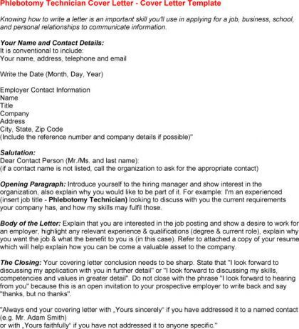 Phlebotomy Cover Letter For Resume