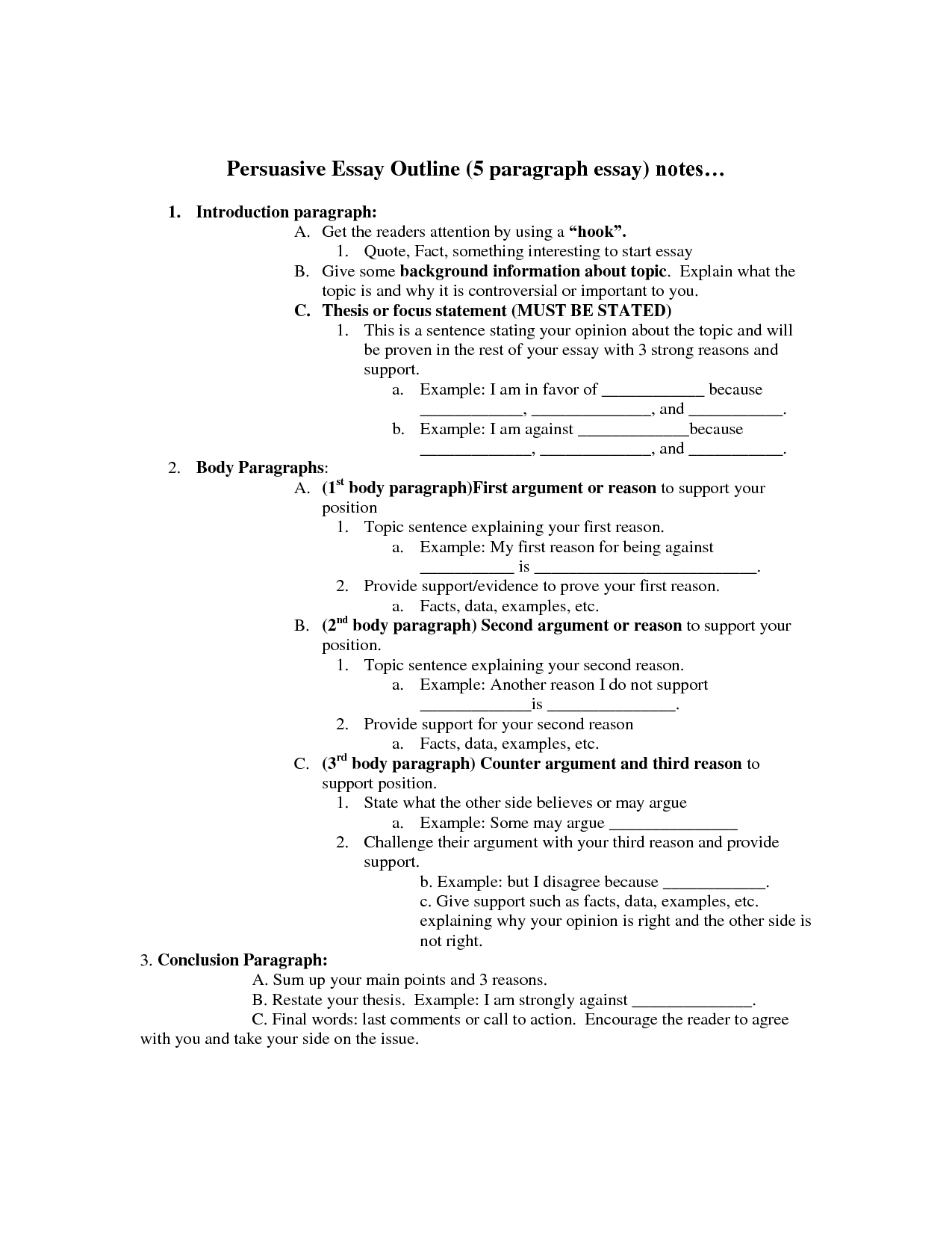 Persuasive Essay Outline Persuasive Essay Outline Paragraph Essay Argumentative Essay Outline