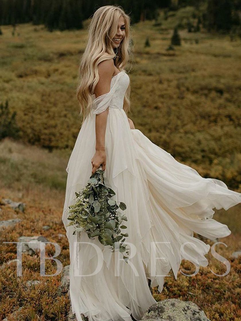 Off The Shoulder A Line Ruched Country Wedding Dress Wedding Dress Chiffon Lace Beach Wedding Dress Ruched Wedding Dress [ 1120 x 840 Pixel ]