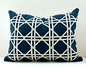Modern Trellis Designer lumbar Pillow Cover 12x16 Indigo Navy Blue Cream Accent Throw Cushion Waverly Garden Lattice geometric