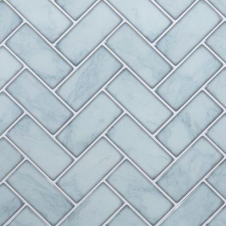 Truu Design Light Blue Herringbone Wall Tile Light Blue 10 In X 10